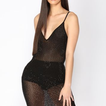 Have A Drink Rhinestone Dress - Black
