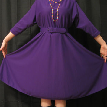 SALE: 1980s Batwing Dress Awesome Royal purple color full circle skirt