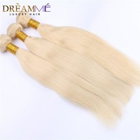 #613 Blonde Color Hair 3 Bundles/Pcs Brazilian Straight Human Hair Extensions 100%  Remy Human Hair Weave Dreamme Hair