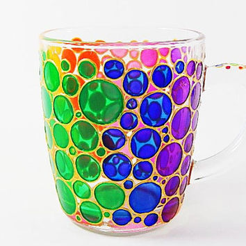 Bubbles Cup Hand Painted Mug Colorful Mug Mosaic Cup Colored Bubbles Mug Bright Mug Multi Colored Mug Handmade Glasses Painted Ceramic Mug