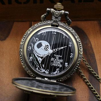 Free Postage Bronze The Nightmare Before Christmas Coffin Quartz Pocket Fob Watch With Chain Necklace