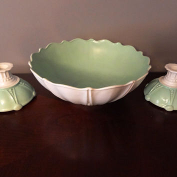 "Vintage Anchor Hocking Art Deco ""Oyster & Pearl"" Cream Milk Glass and Painted Mint Green - Set of 2 Candle Holders and Large Decorative Bowl"