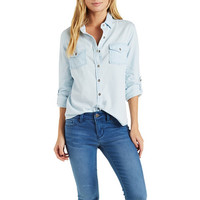 Light Wash Chambray Button-Up Top
