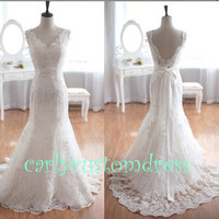 Long Lace Wedding Dress/Handmade Floor-length White Ivory Lace Bridal Dress/Wedding Party Dress