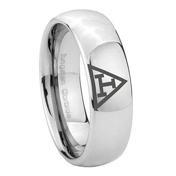 8MM Classic Mirror Dome Masonic Triple Tungsten Carbide Silver Engraved Ring