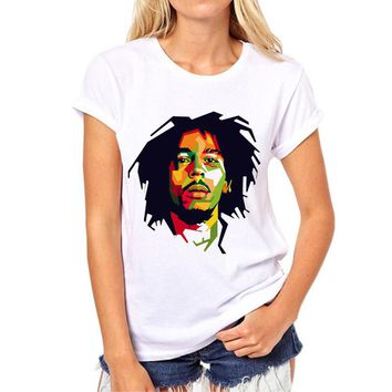 Bob Marley T shirts Women  Factory direct sales Custom Tees Vintage Rock Girl T-shirt