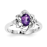 Sterling Silver Oval Amethyst and Diamond Accented Flower Ring