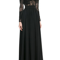 Elie Saab - Embroidered Floor Length Gown with Lace and Silk