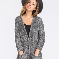 Full Tilt Essential Womens Boyfriend Cardigan Black/White  In Sizes
