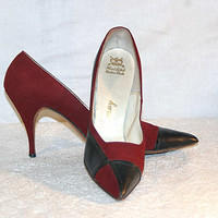 60s Vintage Pointy Toe Stiletto Heel Shoes Pumps Black Red Colorblock Womens approx 9 Leather Suede