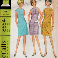 Retro Mod Mini Dress Basic Sheath 60s McCall's Sewing Pattern Mad Men Style High Neck A-line Uncut FF Bust 32