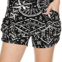 Mix Print Harem Shorts with Pockets