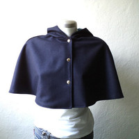Navy blue wool cape, hoodie capelet, Fully lined in floral charmeuse, available Sizes S-M-L-XL.
