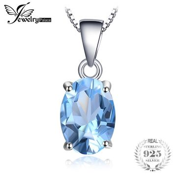 JewelryPalace Oval 2.1ct Natural Sky Blue Topaz Birthstone Solitaire 925 Sterling Silver 45cm Chain Fine Jewelry For Women