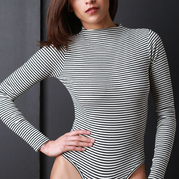 Ribbed Knit Stripe Long Sleeves Bodysuit