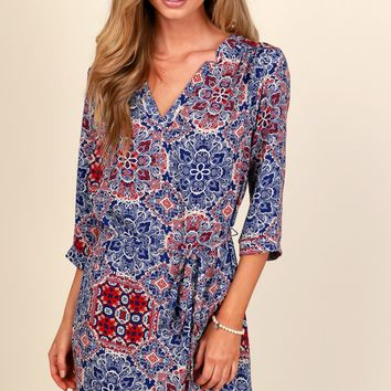 Adventure Oasis Print Dress Blue