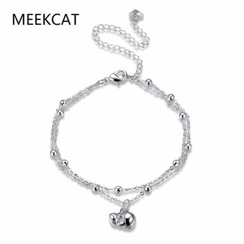 Two layer Ankle Bracelet Cheville Skull Foot Jewelry Leg beads Chain Foot Jewelry Beach Anklets For Women Barefoot Sandals