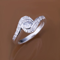 Dual Hook Line Silver Ring