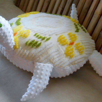 Sea turtle pillow, nautical pillows, chenille sea turtle pillow, home decor, nautical home, nautical decor, beach pillows, coastal living