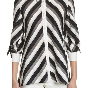 Lela Rose Stripe Bow Sleeve Shirt | Nordstrom