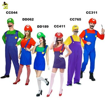 Super Mario party nes switch Adult  Luigi Brothers Plumber Costume Men And Women's Jumpsuit Fancy Cosplay Clothing for Cartoon role Costumes AT_80_8