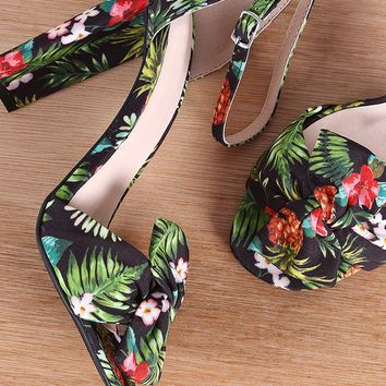 Qupid Printed Knotted Bow Ankle Strap Chunky Heel