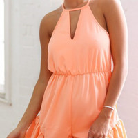 Orange Cut Out Falbala Hem Romper