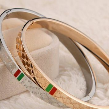 GUCCI - plated 18k rose gold titanium steel high - end quality diamond - shaped red - green bracelet.