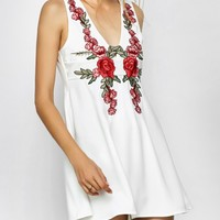 Floral Plunging Neck Mini Dress