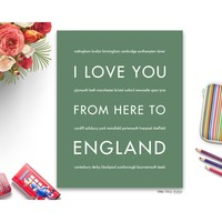 ENGLAND Travel Art | Gift Idea | HopSkipJumpPaper