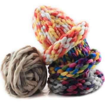 Soft Knitting Wool Yarn Roving Bulky Spinning Super Thick String Chunky Hand Knitting Thread Crochet Yarn For Hat Scarf Knitting