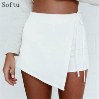 Softu Summer Style Shorts Skirts Women's Fashion Lace up Irregular Mini Sexy Shorts