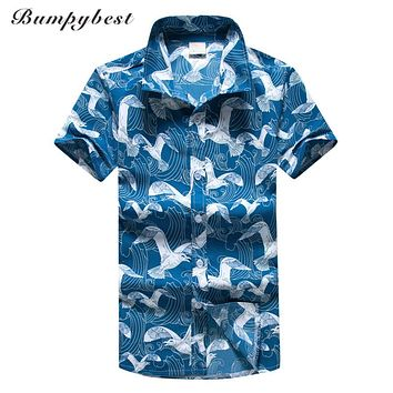 men summer holiday beach shirts men short sleeve seagulls print Hawaiian Shirts men clothing