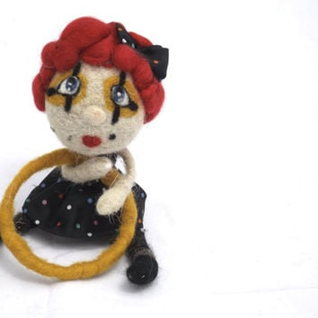 Clown doll -  needle felted collectible circus doll, yellow hula hop red hair doll, black pois papillon, mini doll