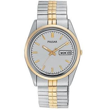 Pulsar Mens Traditional Watch - Gray Dial - Two Tone Case - Expansion Band