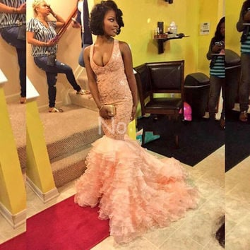 Custom 2016 New Summer Sexy African Lovely Pink Lace Organza Mermaid Prom Dresses Ruffles Sweep Train Long Evening Party Dress
