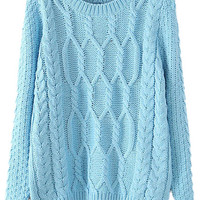 ROMWE   Twisted Knited Loose Blue Jumper, The Latest Street Fashion