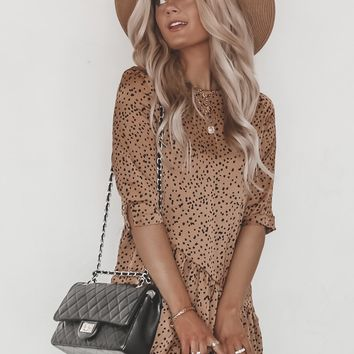 Sweet But Psycho Taupe Dalmation Print Dress
