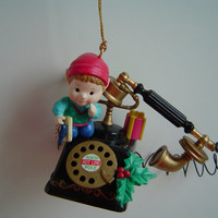 1994 Lustre Fame LTD Little Elf on a North Pole Hotline Telephone Christmas Ornament