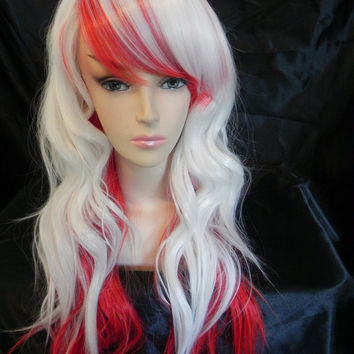 HAPPY HOLIDAYS SALE / The Nurse / White and Red / Long Curly Layered Wig