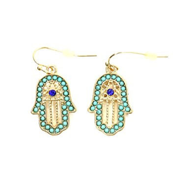 Crystal Hamsa Dangle Earrings Turquoise Gold Tone EI39 Fashion Jewelry