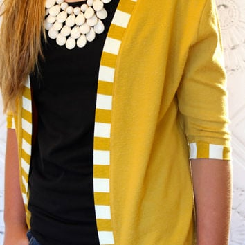 Mustard Yellow and Mustard and Ivory Striped Knit Fabric  3/4 Sleeve Cardigan Jacket  for Teen's and Women from GreenStyle