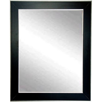 "Brandt Works Silver Accent Black Wall Mirror BM011S 22""x32"""