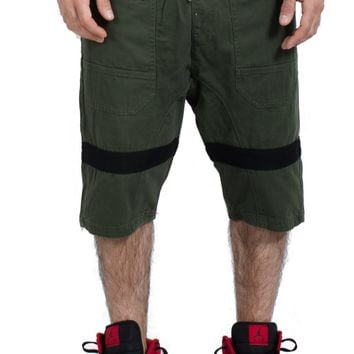 Drop Crotch Twill Jogger Shorts in Olive