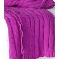Cable Knit Raspberry Purple Throw
