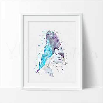 Elsa's Castle, Frozen Watercolor Art Print