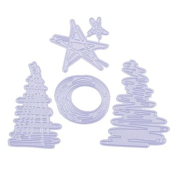 4Pcs Christmas Tree Star Metal Cutting Dies Stencil DIY Scrapbooking Album Cards Decor