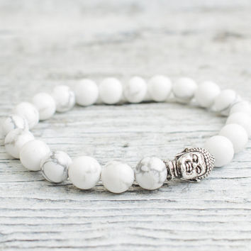 White howlite beaded silver Buddha stretchy bracelet, made to order yoga bracelet, mens bracelet, womens bracelet