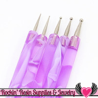 Purple Swirl 5 pc 2 Sided NAIL ArT DOTTiNG TOOL Modeling, Painting, Miniature, and Sculpting Polymer Clay