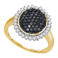 Black Diamond Fashion Ring in 10k Gold 0.75 ctw